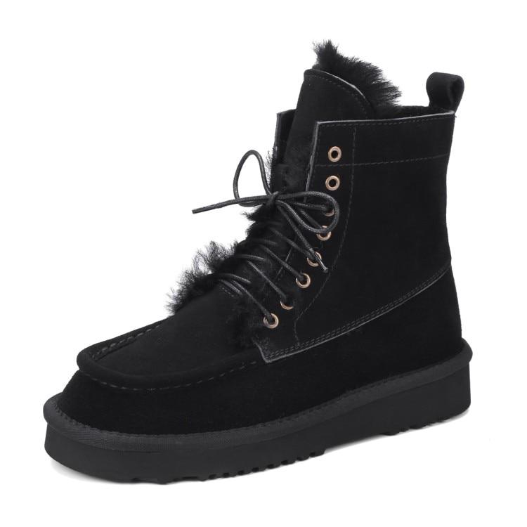 Cuero Nuevos Invierno De Felpa Pisos Planos Nieve {zorssar} La Caliente Botas 2018 Para Mujer Beige Genuino Zapatos negro 8q5fpIw