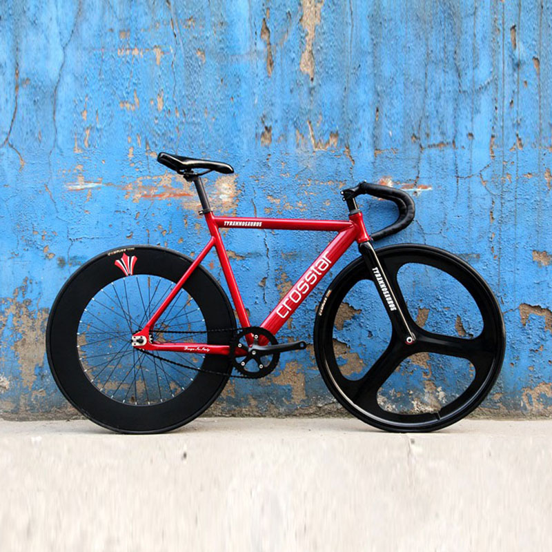 Fixed Gear Bike  Frame 53cm 55cm 58cm  DIY 700C Aluminum Alloy Track Bike Bicycle With 3 Spoke Wheel Rim Carbon Fork