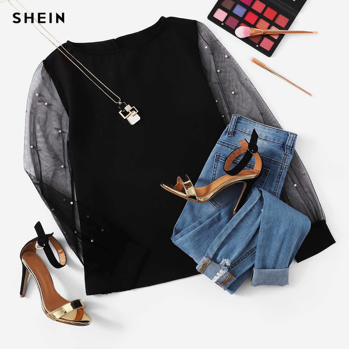 SHEIN Senhora Moderna Preto Pérola Frisado Malha de Manga Comprida Em Torno Do Pescoço Mulheres Top Simples Streetwear Outono Minimalista Elegante Blusa