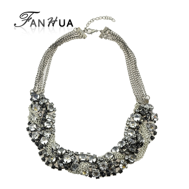 FANHUA Fashion Chains Beads and Rhinestones Decoration Choker Necklace