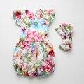 Llegó el nuevo Bebé de Los Mamelucos Con Volantes de Flores conjunto mameluco del Bebé trajes de Niños 2016 Del Verano Lindo Del Mameluco Del Bebé recién nacido bebé ropa