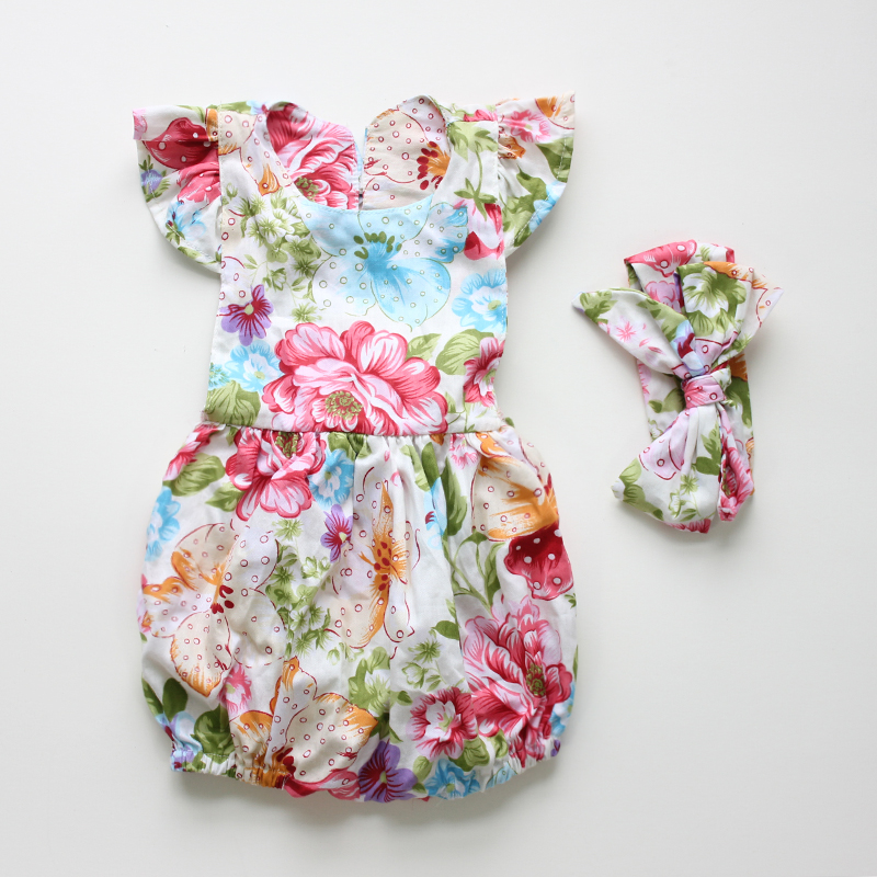 new arrived Baby Rompers Ruffled Flower romper set Girl Baby Costumes Set Kids 2016 Summer Cute Baby Romper newborn baby clothes