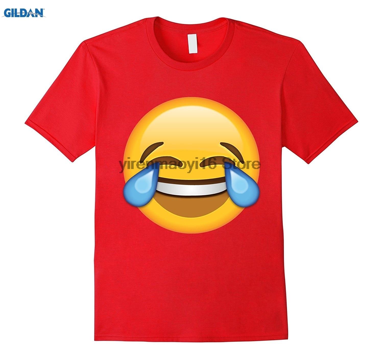 GILDAN 100% cotton O-neck printed T-shirt Tears of Joy Emoji T-shirt Pijama Party Emoticon T-Shirt