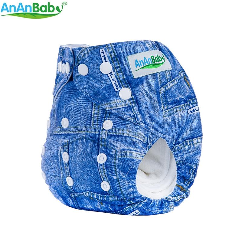 Ananbaby Impreso Pañales para bebés Bolsas lavables Pañales de bolsillo Pañales de tela para recién nacidos Pañal reutilizable Un tamaño apto 3-15 kg 1-2 años