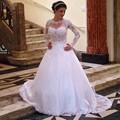 New Fashion Appliqued A Line Wedding Dress Long Sleeve 2017 See Through Appliqued Woman Bridal Gowns Custom Made