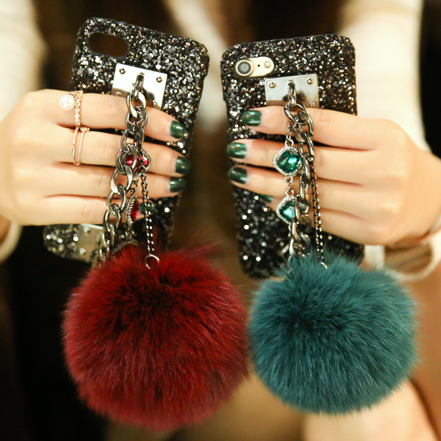 Dower Me Super Luxury Fashion Diamond Chain Real Fox Hair Fur Ball Bling Black Phone Case Cover For Iphone X 8 7 6 6S Plus 5S SE