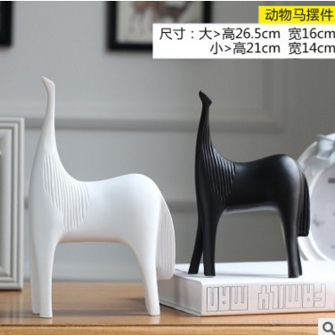 Nordic Decoration Home Creative Black and White Ceramic Craft LT005 Horse