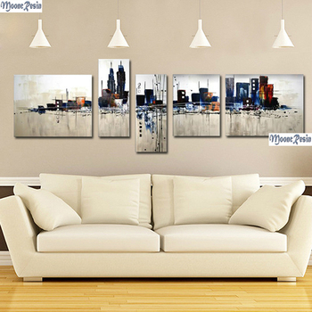 MOONCRESIN Triptych Diamond Mosaic 5PC A Mirage Pattern Sticker Full Square Diamond Embroidery Diy Painting Diamond Decoration