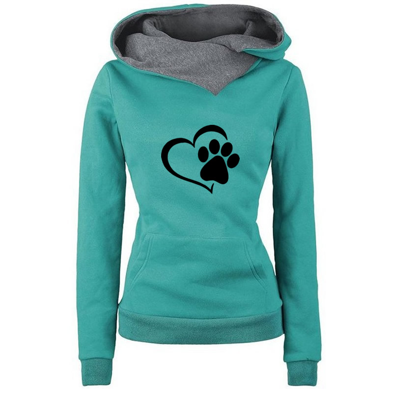 2019 New Fashion Cat Dow Paw  Print Hoodies Women Tops Pockets  Cotton Female Street Thick Sping Autumn Suit