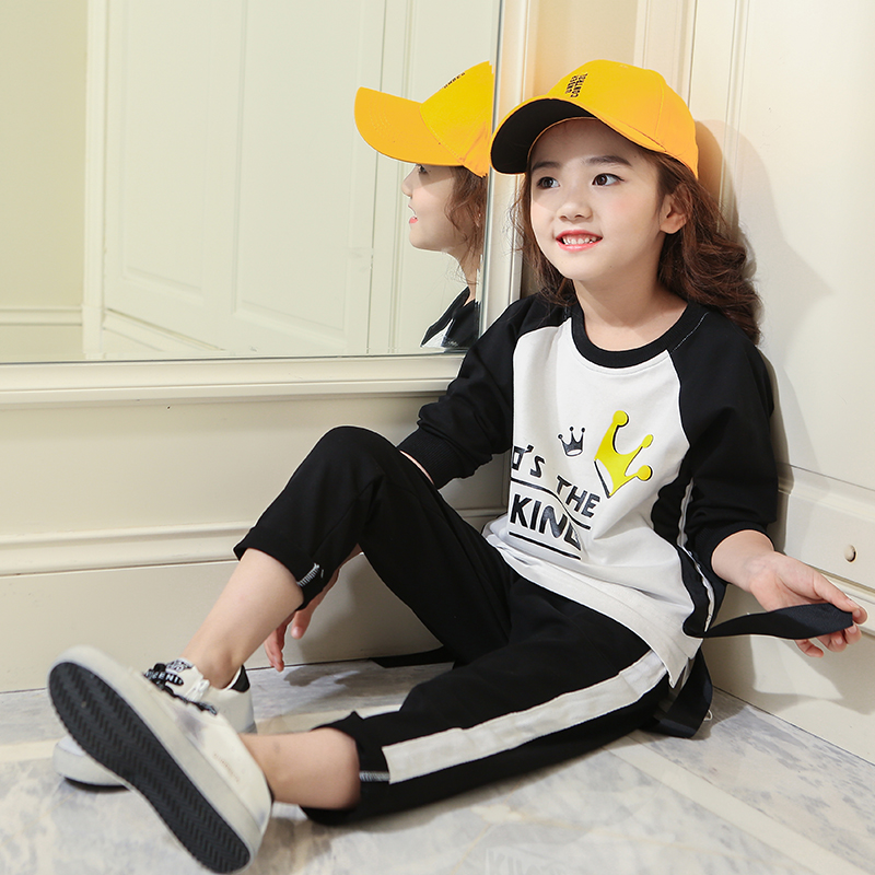 4 5 6 7 8 9 10 11 12 13 Years Print Clothes Set For Girls Autumn Sports Suits 2017 Long Sleeve T Shirt + Pant 2pcs Kids Clothing 5 6 7 8 9 10 11 12 13 14 15 years children clothing set teenage girls fashion clothes autumn wear long sleeve sweatshirt skirt