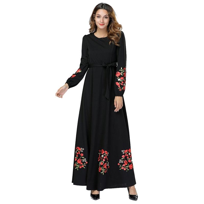 Image 4 - Black Vestidos Kaftan Abaya Dubai Arabic Hijab Muslim Dress Women Elbise Turkish Islamic Clothing Robe Musulmane Longue Dresses-in Islamic Clothing from Novelty & Special Use