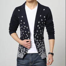 Terno Masculino Casual Spring Printing Sweater Small Suits Long Sleeves Single Button Leisure Slim Knit Plus Size Blazers S1452