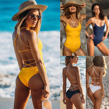 Сдельный купальник, сексуальный бандажный Купальник для женщин, пуш-ап, монокини, боди, купальник для женщин, пляжный купальный костюм, купальник