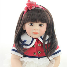 New Design 60CM Silicone Reborn Baby Dolls Long Hair Fridolin Lifelike Sweet Girl Real Gentle Touch Cute Reborn Dolls Babies