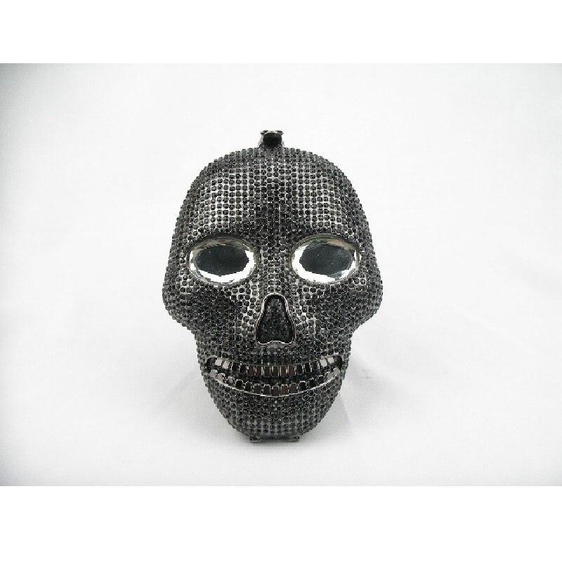 ФОТО Black Crystal SKULL 3D lady fashion hollow Metal Evening purse clutch bag case box handbag
