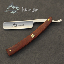 River lake barber shaving straight razor set straight razor shaving Handle razor hand made wooden handle  leather razor strop