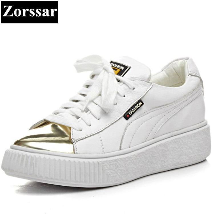 {Zorssar}Genuine leather Fashion Metal toe Ladies Shoes Casual Women Flats White shoes leisure Flat Womens Outdoor walking shoes women flat sandals fashion ladies pointed toe flats shoes womens high quality ankle strap shoes leisure shoes size 34 43 pa00290