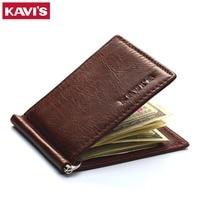 KAVIS Slim Brand Men Women Genuine Leather Bifold Male Purse Billfold Wallet Money Clip Card Holder