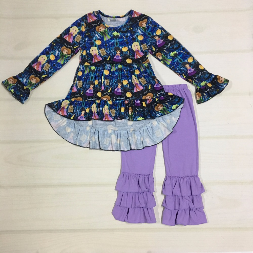 Fall Baby Clothes Character Cotton Outfits Kids Purple Multiple layers Ruffle Pants Children Boutique Clothing Sets F146