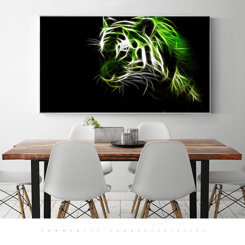 Modern Picture Tiger Head Shadow Model Virtual Animal Wall
