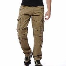 2017 Новый мужчины брюки-карго мужские Свободные армии тактические брюки Мульти-карман брюки pantalon homme Большой Размер 46 Мужчин военные Комбинезоны