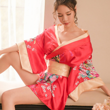 Yhotmeng sexy cute lady Japanese kimono print high quality satin tie bow waist bathrobe nightgown pajamas set