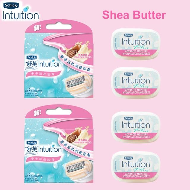 Schick Intuition Juego de 4 cuchillas de afeitar para mujer, cuidado sensible natural y manteca de karité, brazo, cara, axilas, Bikini