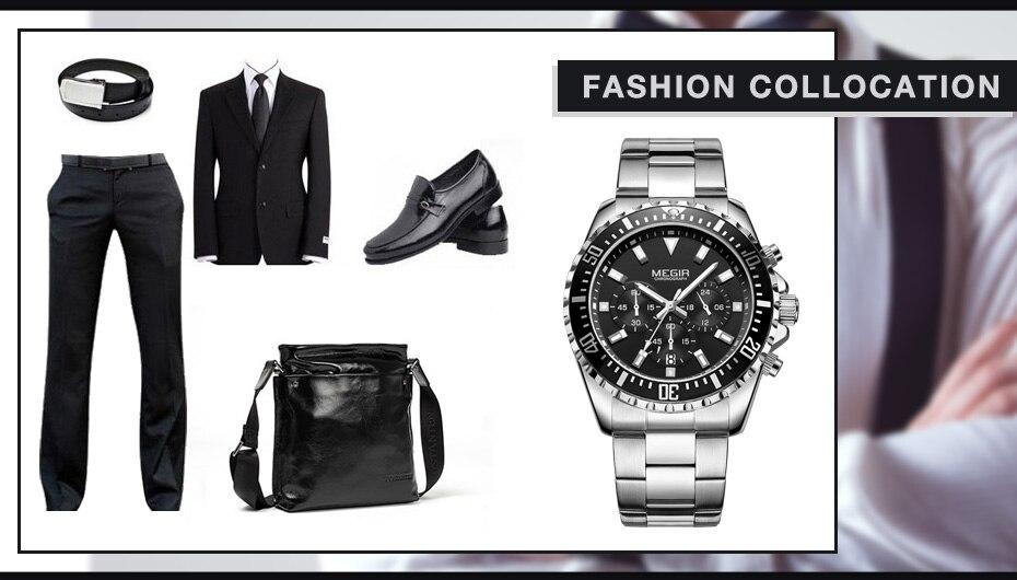 Topdudes.com - MEGIR Luxury Stainless Steel Chronograph Business Quartz Watch