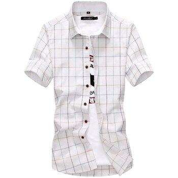 New Arrival Men Shirt Plaid Casual Quality 2019 Summer Autumn Short Sleeve Chemise Homme Outwear Slim Fit Shirts Men M-5XL