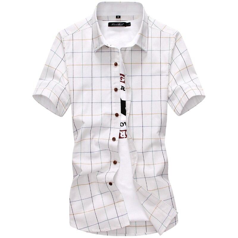 Nouveauté t-shirt pour Homme Plaid décontracté Qualité 2019 D'été Automne courtes manches Chemise Homme Outwear Mince chemises ajustées Hommes M-5XL