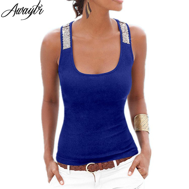 Awaytr Spring Summer Tank Tops Women Sleeveless Square Neck Loose Bodycon T Shirt Ladies Vest Singlets Sequined Black Tops
