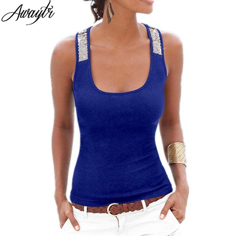 Awaytr Primavera Estate New Canotte Donna Senza Maniche Piazza Neck Sciolti Aderente T Shirt Vest Ladies Canotte Paillettes Top Nero