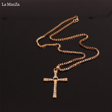 Hip Hop Alloy Gold Color Cross Pendant Necklace Religious Iced Out Rhinestone Crucfix Necklace Jewely For Men Free Cuban Chain(China)