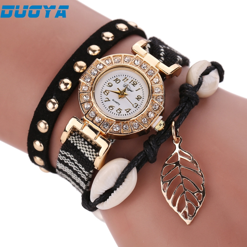 Duoya Brand Fashion Women Dress Watch Women Luxury Silver Crystal Leather Quartz Wristwatch Ladies Classic Bracelet Watch