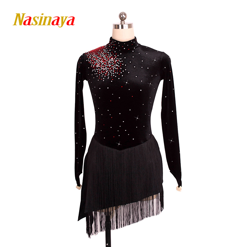 customized costume ice figure skating gymnastics dress competition adult child girl skirt performance black tassel hemlines pink black ice skating jackets for kids hot sale figure skating suits competition skating suits for children