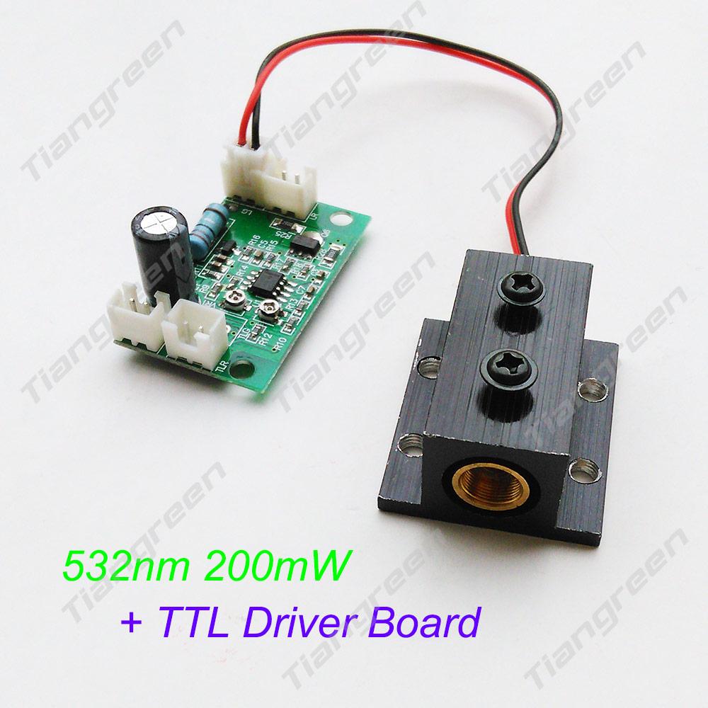200mW 532nm Green Laser Module, LAB DIY + TTL Driver Board(808nm 532nm 650nm) + heat sink usb to ttl updating board module green silver black