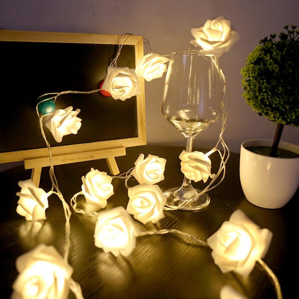 USB 20 LED String Rose Lights Flower Flasher Fairy Light Valentine Home Decor Fashion Outdoor Holiday Lighting String Wedding