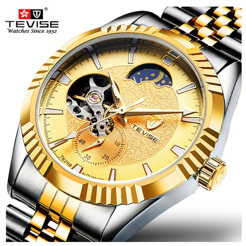 Men Watch Brand TEVISE Moon Phase Steel Mens Wristwatch Automatic Mechanical Watches Waterproof Tourbillon Relogio Masculino tevise men watch black stainless steel automatic mechanical men s watch luminous waterproof watch rotate dial mens wristwatches