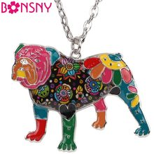 Bonsny Statement Enamel English British Bulldog Bull Terrier Necklaces Pendants Chain 2017 New Fashion Dog Jewelry For Women(China)