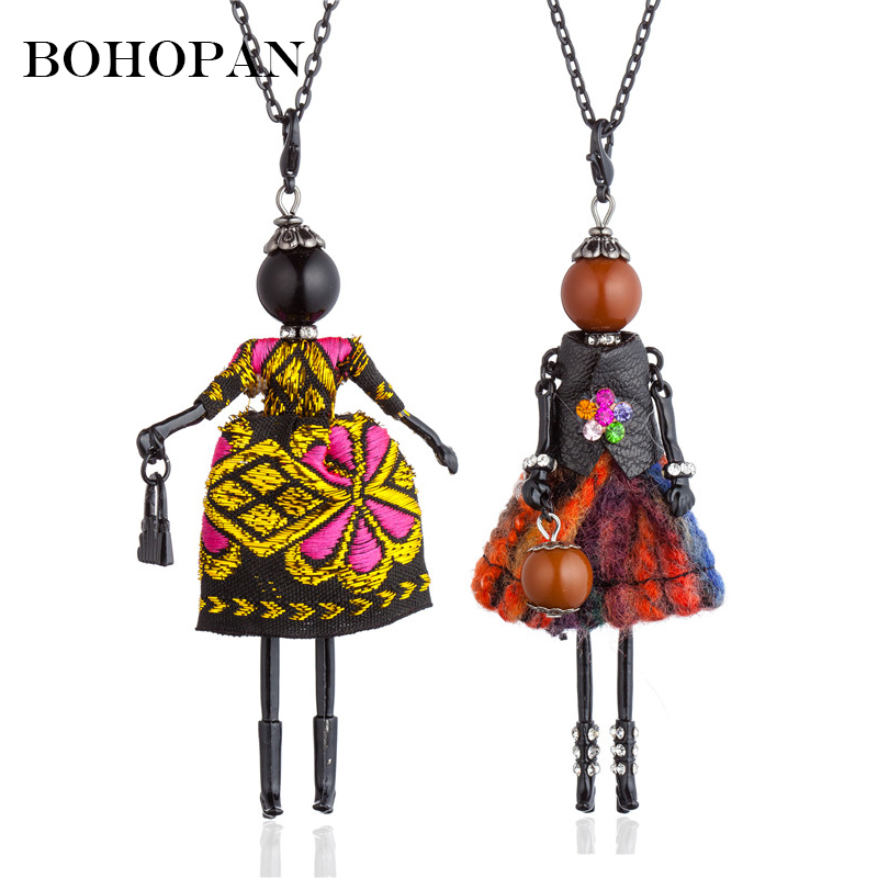 Vintage Necklace For Women Embroidery Dress Big Pendant & Necklace Black Alloy Doll Necklace Long Chain Collar Mujer Gift Bijoux