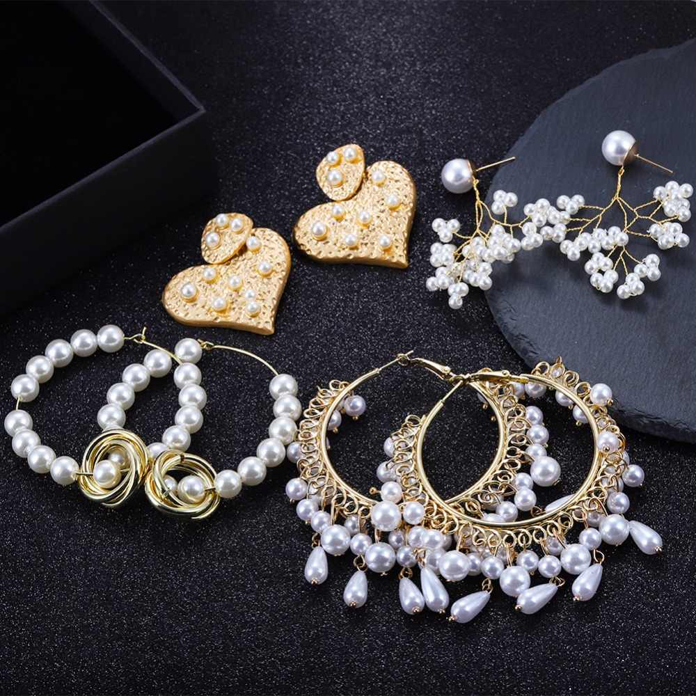 Dvacaman Simulated Pearl Hoop Earrings for Women Big Round Circle Hanging Earrings Heart Wedding Bridal Jewelry Wholesale Bijoux