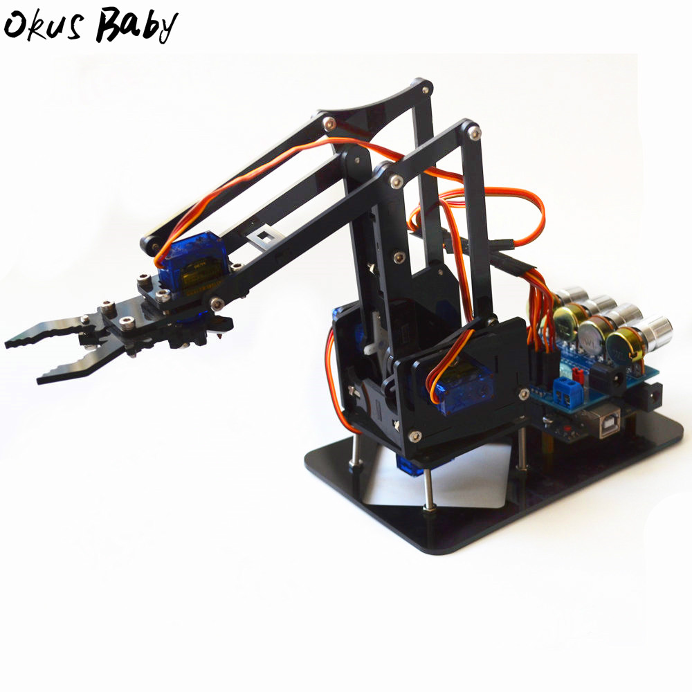 2019 Brand New Diy Acrylic Robot Arm Robot Claw Arduino Kit 4dof Toys Mechanical Grab Manipulator Diy For Kids Gift