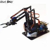 2019 nova marca diy robô de acrílico braço robô garra arduino kit 4dof brinquedos manipulador garra mecânica diy para o presente das crianças