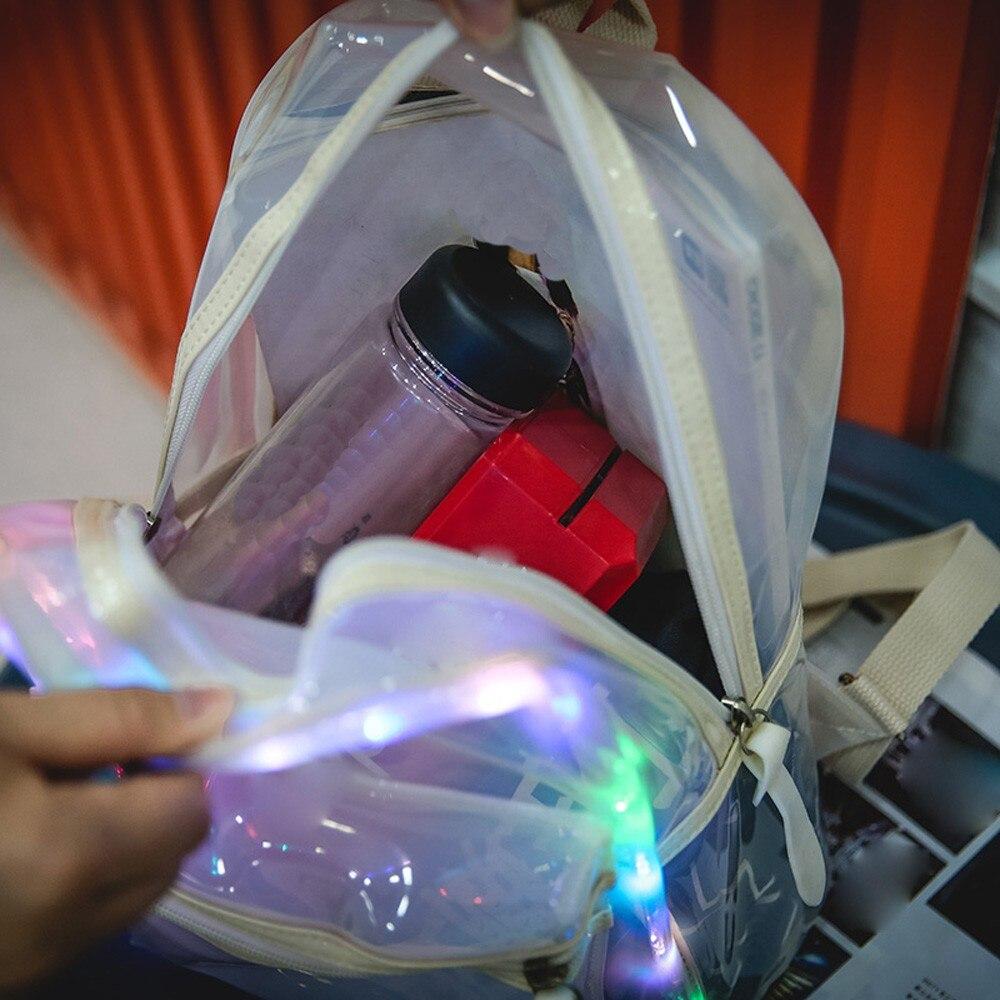 Gelatina Della Lanterna colore Le Elettronici La Borse Trasparente bianco Rosa Dello Sacchetto Donne Verde Ha Zaino Condotto Del Scuola Decorazione Glitter Di Spalla Studente Luce BIEzrqE