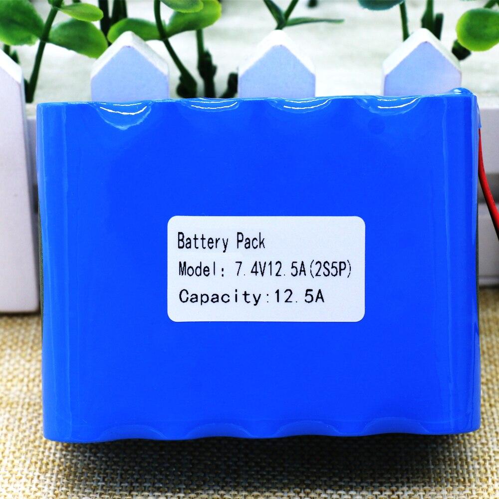 KLUOSI-Batería de iones de litio 2S5P, 7,4 V, 8,4 V, 12500 MAh, paquete de batería 18650 + batería recargable BMS para bicicleta/CCTV/cámara
