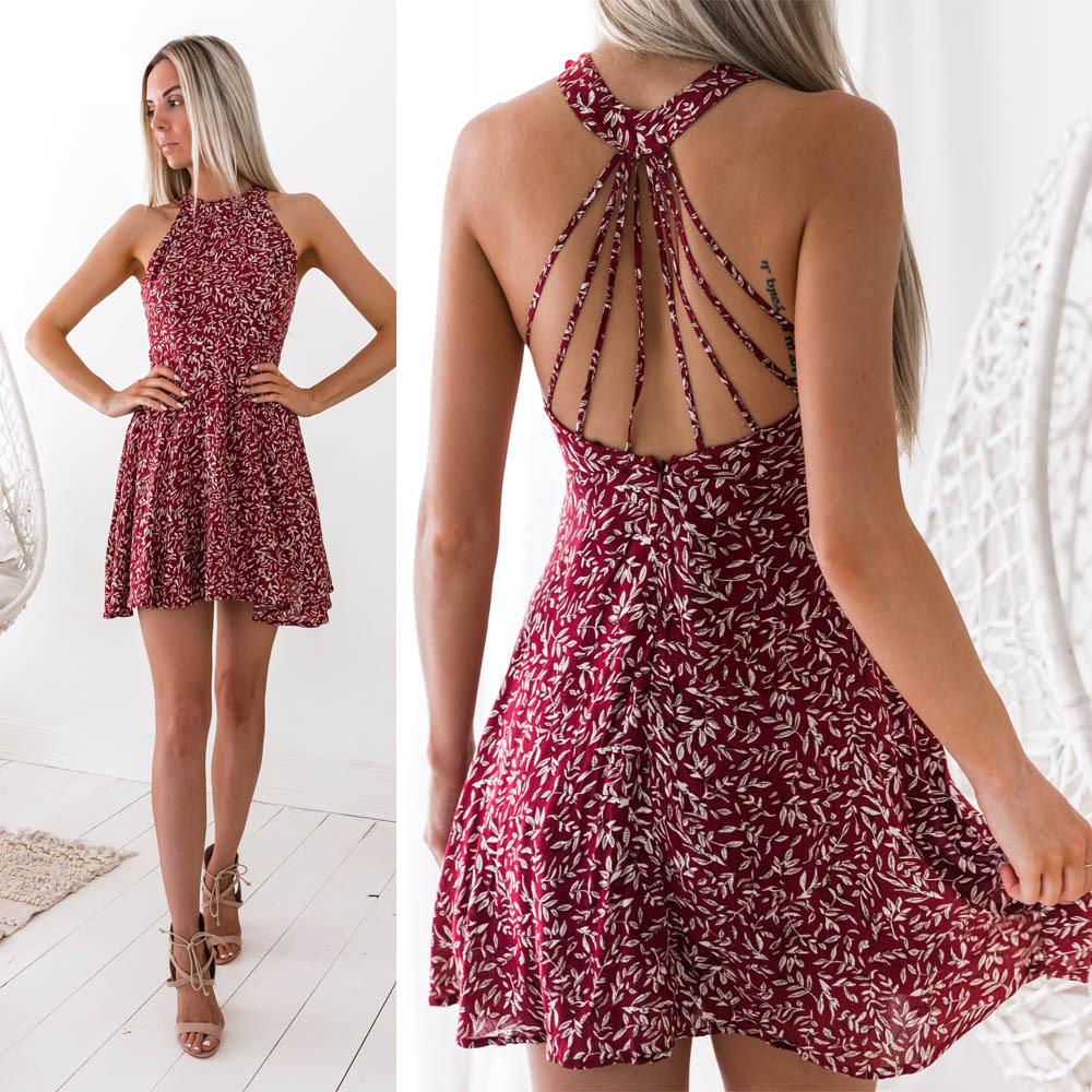 Buy Summer Print Halter A-Line Dress Women 2018 Sexy Shoulder Backless Evening Party Vintage Dresses Female Vestidos De Fiesta