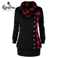 AZULINA Plus Size Women Sweatshirt Plaid Buttons Cowl Neck Long Sleeve Hoodies Sweatshirts Casual Long Ladies
