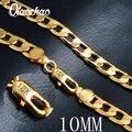 Большой 50 см долго двухместный снаряженная кубинский мужчины золотую цепочку Дородный мужская 18 К твердого желтого золота GF Толстая цепь ожерелья 10 мм X198