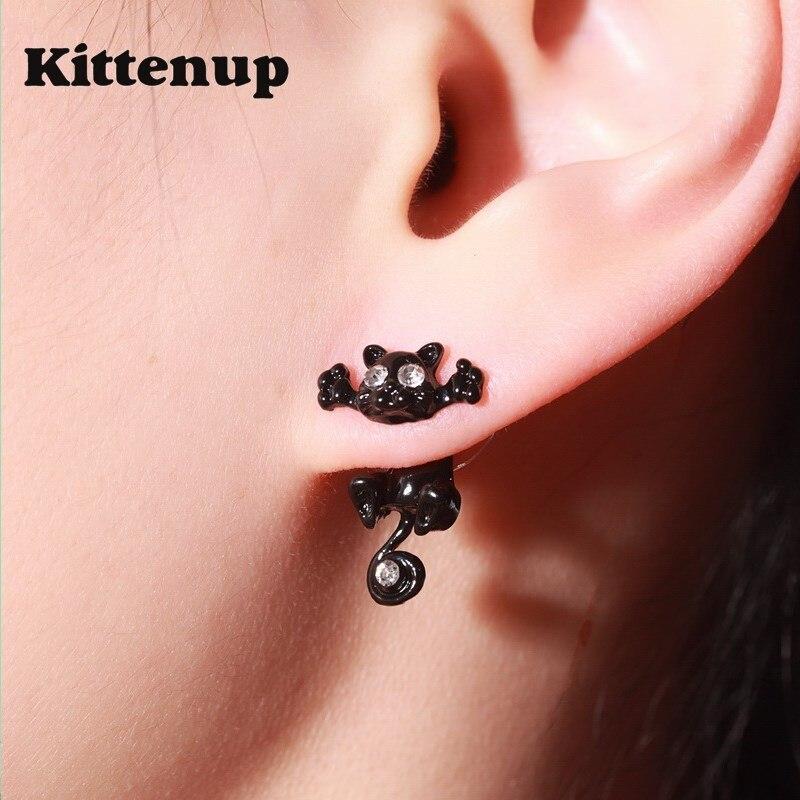 Kittenup New Fashion Cat earring cute Black Kitten Jewelry Piercing Ear Stud Earrings for Women Femme