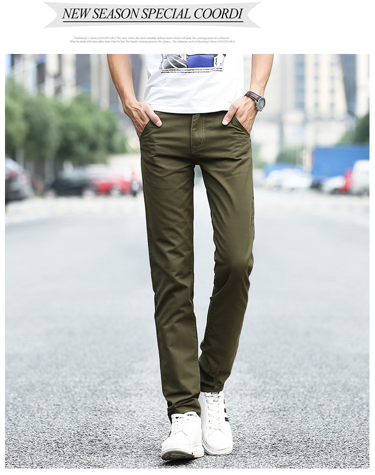 Business Casual Pants 11 Colors New Casual Pencil Pants Men Slim Pant Straight Trousers Solid Leisure Zipper Spring Summer k919 39